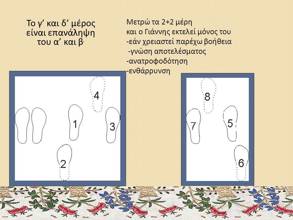Το γ' και δ' μέρος είναι επανάληψη του α' και β ' Μετρώ τα 2+2 μέρη και ο Γιάννης εκτελεί μόνος του -εάν χρειαστεί παρέχω βοήθεια -γνώση αποτελέσματος -ανατροφοδότηση -ενθάρρυνση