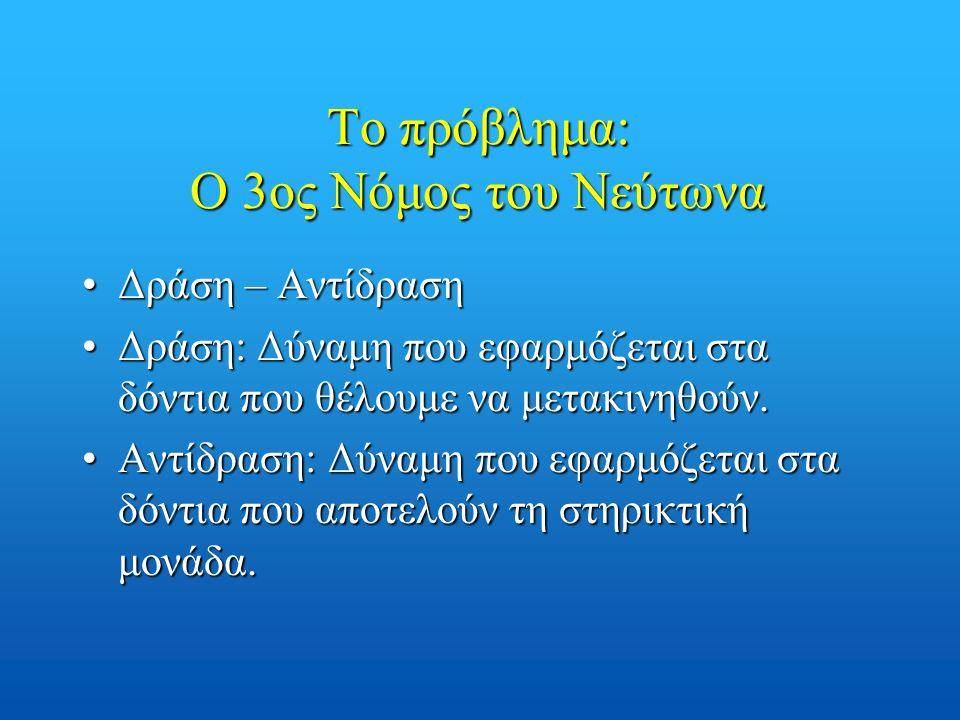 Το πρόβλημα: Ο 3ος Νόμος του Νεύτωνα Δράση – ΑντίδρασηΔράση – Αντίδραση Δράση: Δύναμη που εφαρμόζεται στα δόντια που θέλουμε να μετακινηθούν.Δράση: Δύ