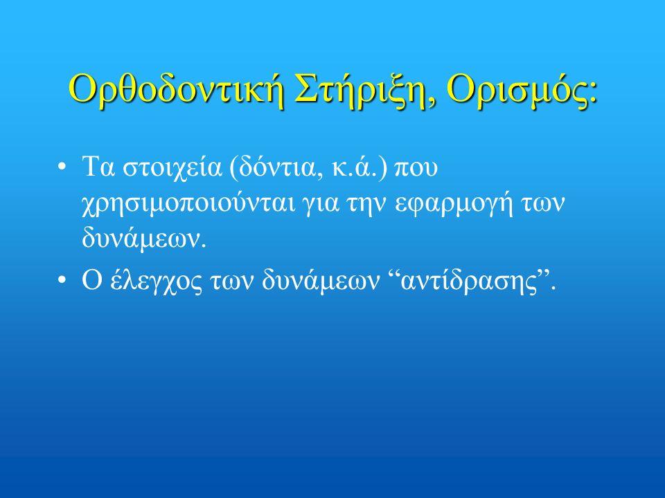 """Ορθοδοντική Στήριξη, Ορισμός: Τα στοιχεία (δόντια, κ.ά.) που χρησιμοποιούνται για την εφαρμογή των δυνάμεων. Ο έλεγχος των δυνάμεων """"αντίδρασης""""."""