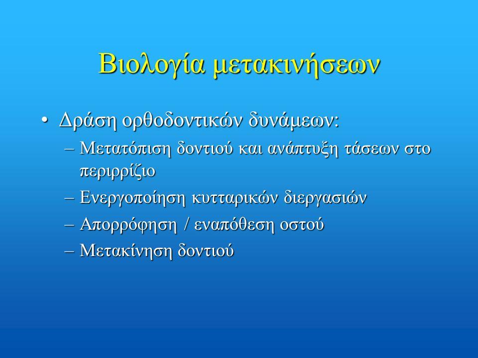 Βιολογία μετακινήσεων Δράση ορθοδοντικών δυνάμεων:Δράση ορθοδοντικών δυνάμεων: –Μετατόπιση δοντιού και ανάπτυξη τάσεων στο περιρρίζιο –Ενεργοποίηση κυτταρικών διεργασιών –Απορρόφηση / εναπόθεση οστού –Μετακίνηση δοντιού