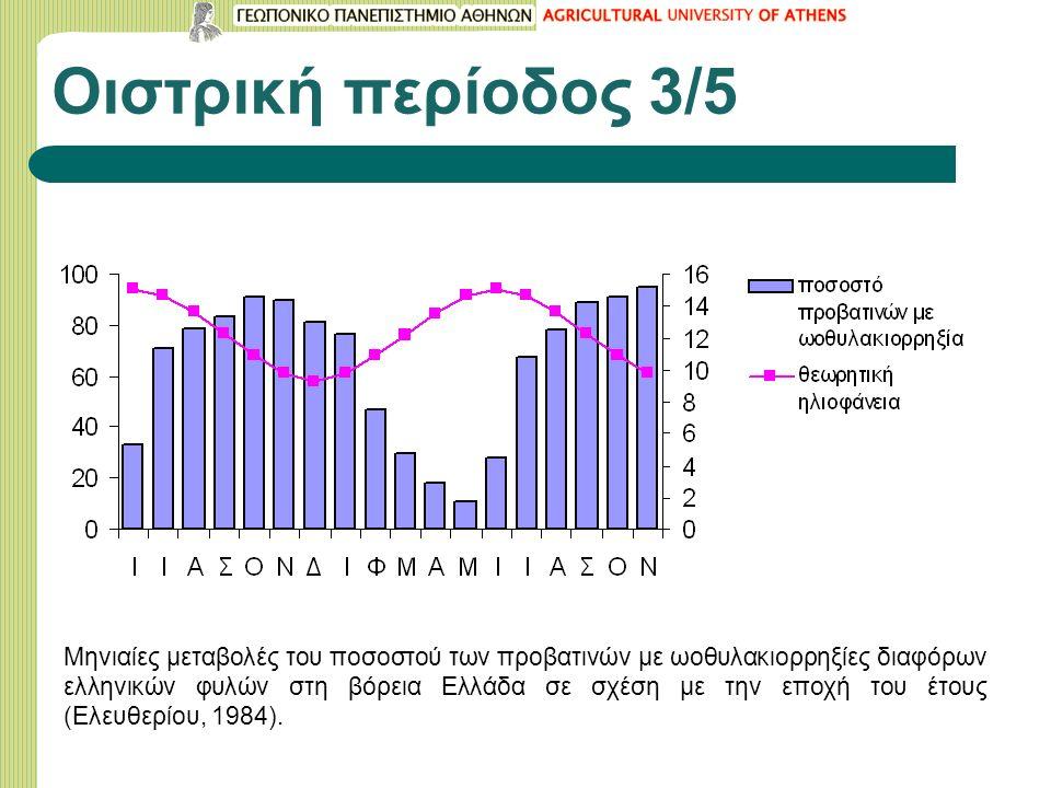 Οιστρική περίοδος 3/5 Μηνιαίες μεταβολές του ποσοστού των προβατινών με ωοθυλακιορρηξίες διαφόρων ελληνικών φυλών στη βόρεια Ελλάδα σε σχέση με την εποχή του έτους (Ελευθερίου, 1984).