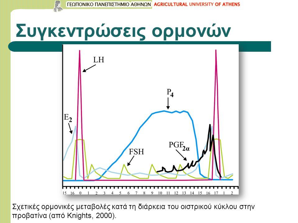 Συγκεντρώσεις ορμονών Σχετικές ορμονικές μεταβολές κατά τη διάρκεια του οιστρικού κύκλου στην προβατίνα (από Knights, 2000).