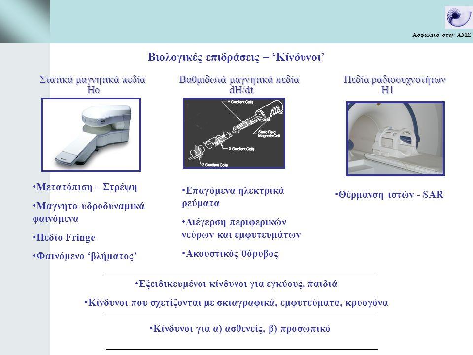 Ασφάλεια στην ΑΜΣ Ακουστικός θόρυβος Τα επίπεδα θορύβου αυξάνουν: (α) με το ρυθμό μεταβολής των βαθμιδωτών πεδίων, (β) το ύψος του παλμού, (γ) την μείωση του πάχους τομής και του εξεταστικού πεδίου (FΟV), (δ) την μείωση του χρόνου επανάληψης (TR) και του χρόνου αντήχησης (TE) Tα επίπεδα θορύβου κυμαίνονται από περίπου 83 dB (για συμβατικές ακολουθίες) έως 114 dB (για EPI ακολουθίες) Σχετική προστασία (μείωση 10-30 dB) παρέχεται με την χρήση ωτοασπίδων η ακουστικών.