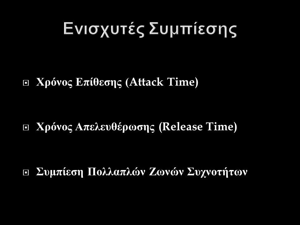  Χρόνος Επίθεσης (Attack Time)  Χρόνος Απελευθέρωσης (Release Time)  Συμπίεση Πολλαπλών Ζωνών Συχνοτήτων