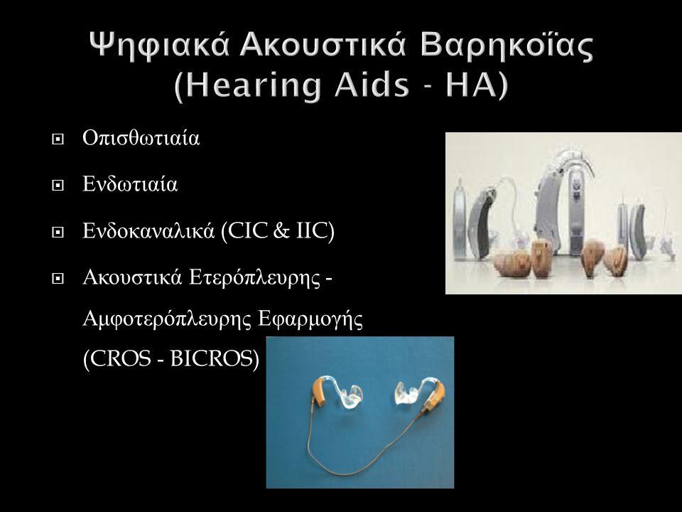  Οπισθωτιαία  Ενδωτιαία  Ενδοκαναλικά (CIC & IIC)  Ακουστικά Ετερόπλευρης - Αμφοτερόπλευρης Εφαρμογής (CROS - BICROS)