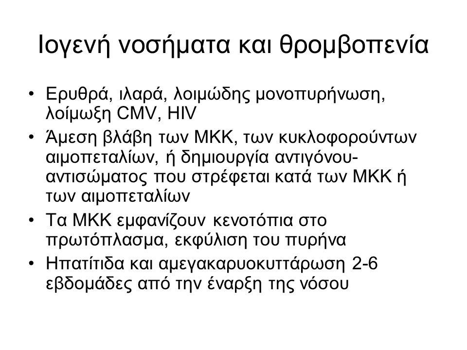 Ιογενή νοσήματα και θρομβοπενία Ερυθρά, ιλαρά, λοιμώδης μονοπυρήνωση, λοίμωξη CMV, HIV Άμεση βλάβη των ΜΚΚ, των κυκλοφορούντων αιμοπεταλίων, ή δημιουργία αντιγόνου- αντισώματος που στρέφεται κατά των ΜΚΚ ή των αιμοπεταλίων Τα ΜΚΚ εμφανίζουν κενοτόπια στο πρωτόπλασμα, εκφύλιση του πυρήνα Ηπατίτιδα και αμεγακαρυοκυττάρωση 2-6 εβδομάδες από την έναρξη της νόσου