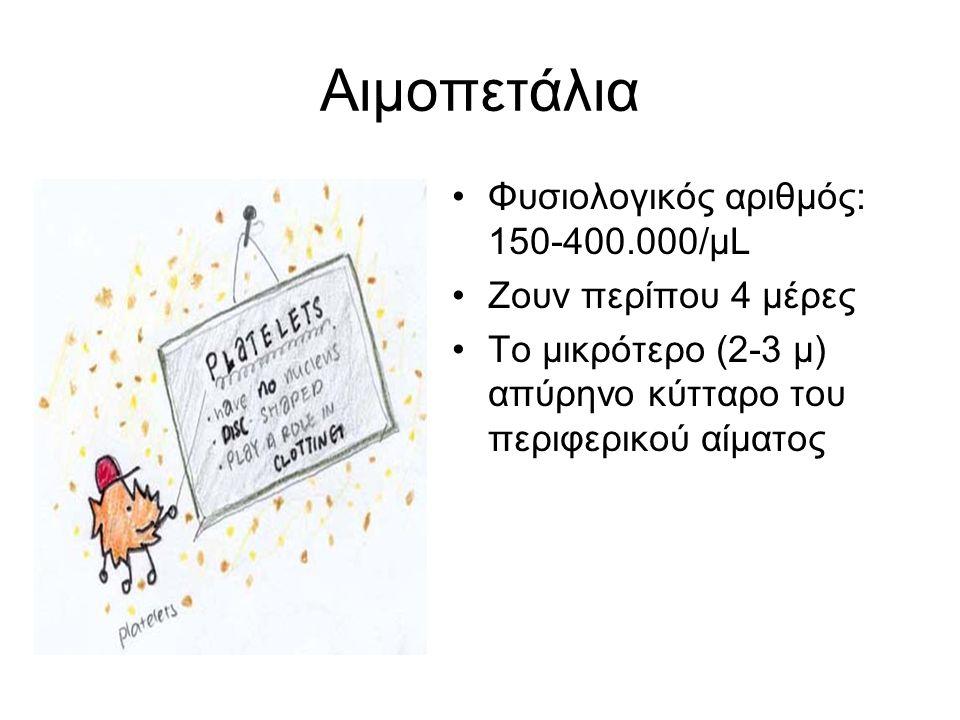 Αιμοπετάλια Φυσιολογικός αριθμός: 150-400.000/μL Ζουν περίπου 4 μέρες To μικρότερο (2-3 μ) απύρηνο κύτταρο του περιφερικού αίματος