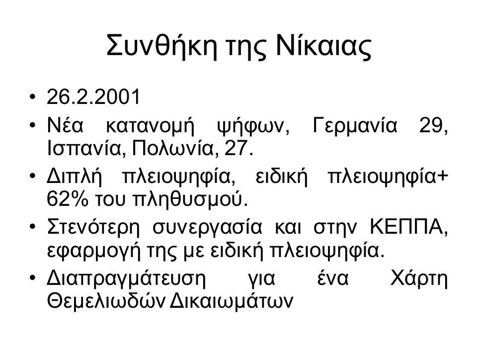 Συνθήκη της Νίκαιας 26.2.2001 Νέα κατανομή ψήφων, Γερμανία 29, Ισπανία, Πολωνία, 27.
