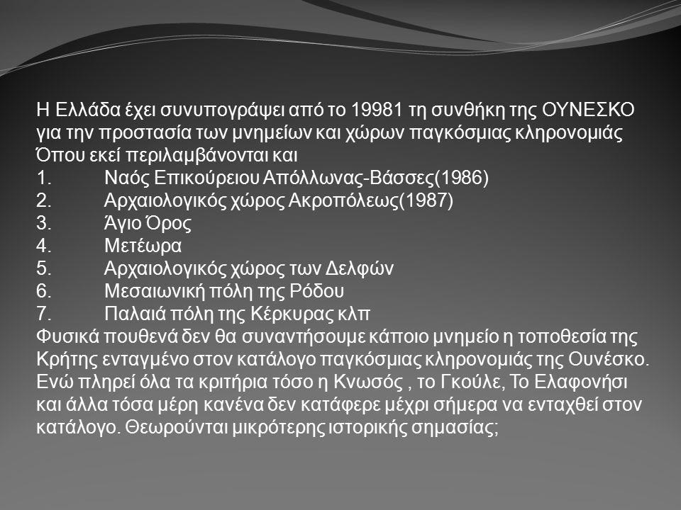 Η Ελλάδα έχει συνυπογράψει από το 19981 τη συνθήκη της ΟΥΝΕΣΚΟ για την προστασία των μνημείων και χώρων παγκόσμιας κληρονομιάς Όπου εκεί περιλαμβάνονται και 1.Ναός Επικούρειου Απόλλωνας-Βάσσες(1986) 2.Αρχαιολογικός χώρος Ακροπόλεως(1987) 3.Άγιο Όρος 4.Μετέωρα 5.Αρχαιολογικός χώρος των Δελφών 6.Μεσαιωνική πόλη της Ρόδου 7.Παλαιά πόλη της Κέρκυρας κλπ Φυσικά πουθενά δεν θα συναντήσουμε κάποιο μνημείο η τοποθεσία της Κρήτης ενταγμένο στον κατάλογο παγκόσμιας κληρονομιάς της Ουνέσκο.