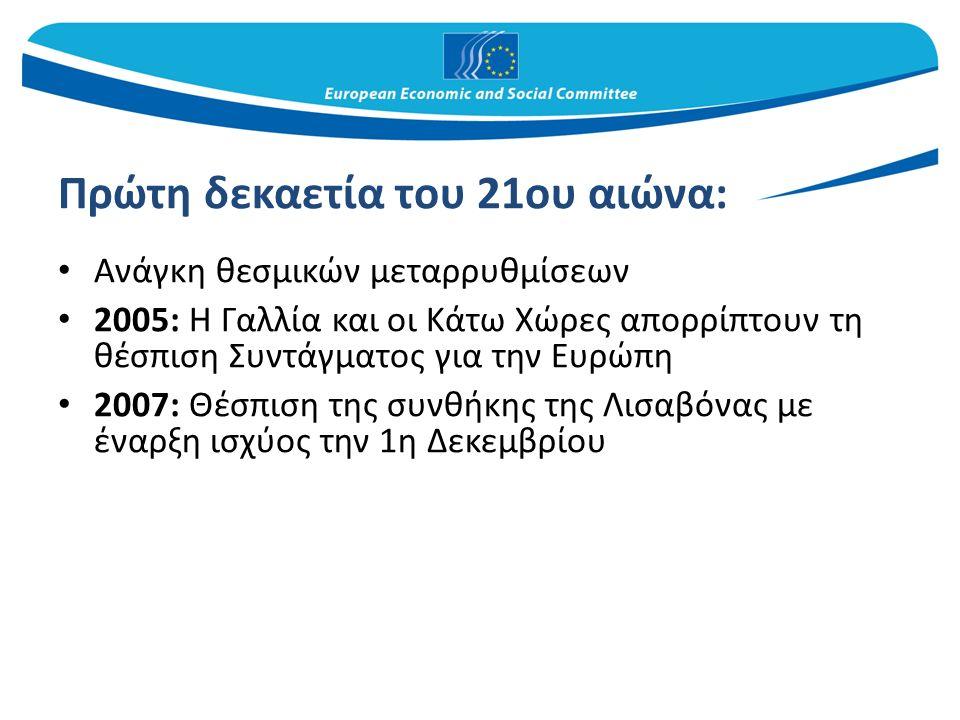 Πρώτη δεκαετία του 21ου αιώνα: Ανάγκη θεσμικών μεταρρυθμίσεων 2005: Η Γαλλία και οι Κάτω Χώρες απορρίπτουν τη θέσπιση Συντάγματος για την Ευρώπη 2007: Θέσπιση της συνθήκης της Λισαβόνας με έναρξη ισχύος την 1η Δεκεμβρίου