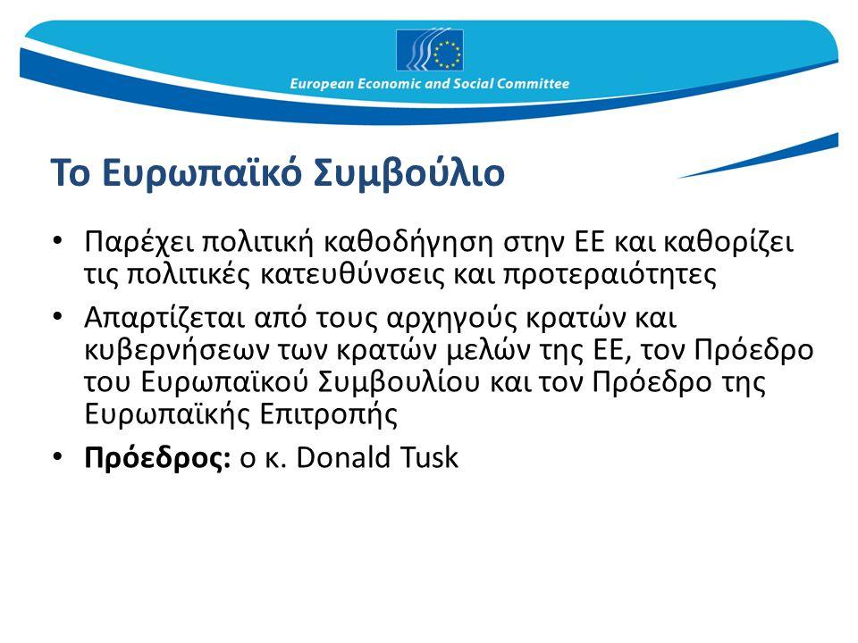 Το Ευρωπαϊκό Συμβούλιο Παρέχει πολιτική καθοδήγηση στην ΕΕ και καθορίζει τις πολιτικές κατευθύνσεις και προτεραιότητες Απαρτίζεται από τους αρχηγούς κρατών και κυβερνήσεων των κρατών μελών της ΕΕ, τον Πρόεδρο του Ευρωπαϊκού Συμβουλίου και τον Πρόεδρο της Ευρωπαϊκής Επιτροπής Πρόεδρος: ο κ.