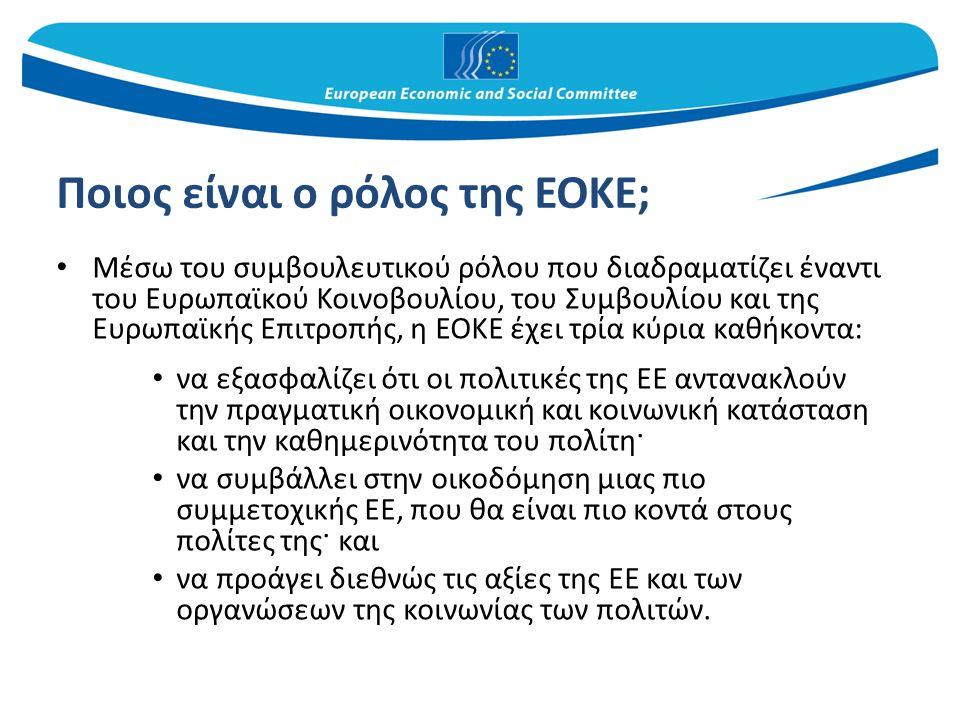 Ποιος είναι ο ρόλος της ΕΟΚΕ; Μέσω του συμβουλευτικού ρόλου που διαδραματίζει έναντι του Ευρωπαϊκού Κοινοβουλίου, του Συμβουλίου και της Ευρωπαϊκής Επιτροπής, η ΕΟΚΕ έχει τρία κύρια καθήκοντα: να εξασφαλίζει ότι οι πολιτικές της ΕΕ αντανακλούν την πραγματική οικονομική και κοινωνική κατάσταση και την καθημερινότητα του πολίτη· να συμβάλλει στην οικοδόμηση μιας πιο συμμετοχικής ΕΕ, που θα είναι πιο κοντά στους πολίτες της· και να προάγει διεθνώς τις αξίες της ΕΕ και των οργανώσεων της κοινωνίας των πολιτών.