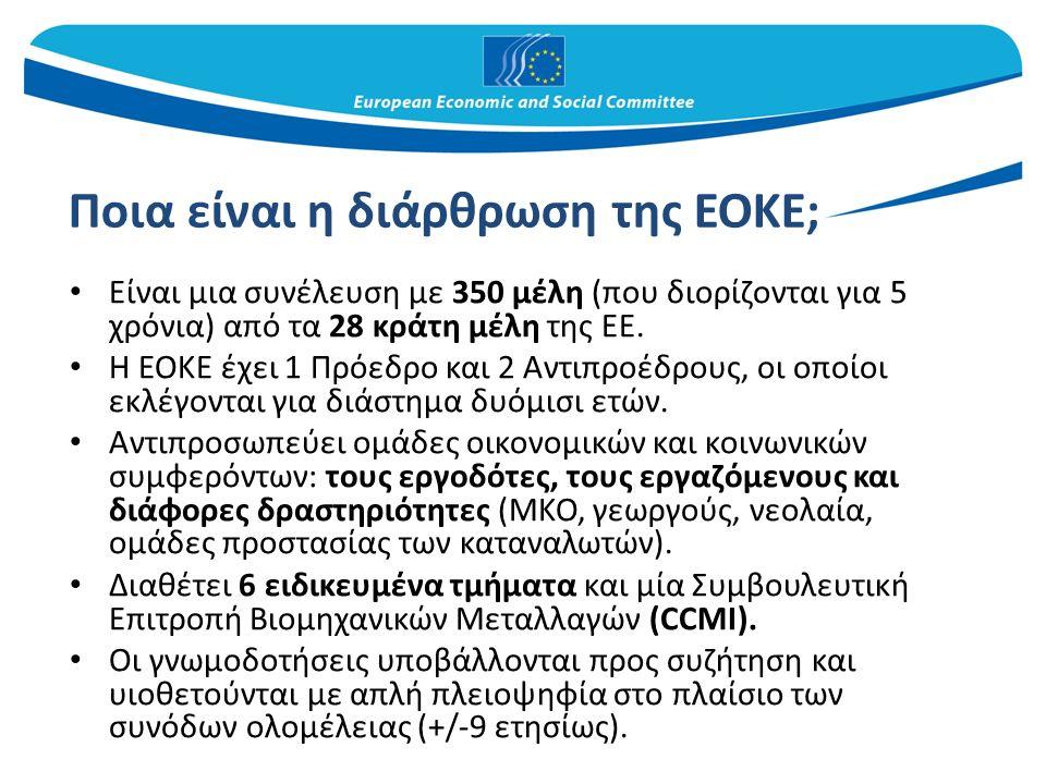 Ποια είναι η διάρθρωση της ΕΟΚΕ; Είναι μια συνέλευση με 350 μέλη (που διορίζονται για 5 χρόνια) από τα 28 κράτη μέλη της ΕΕ.
