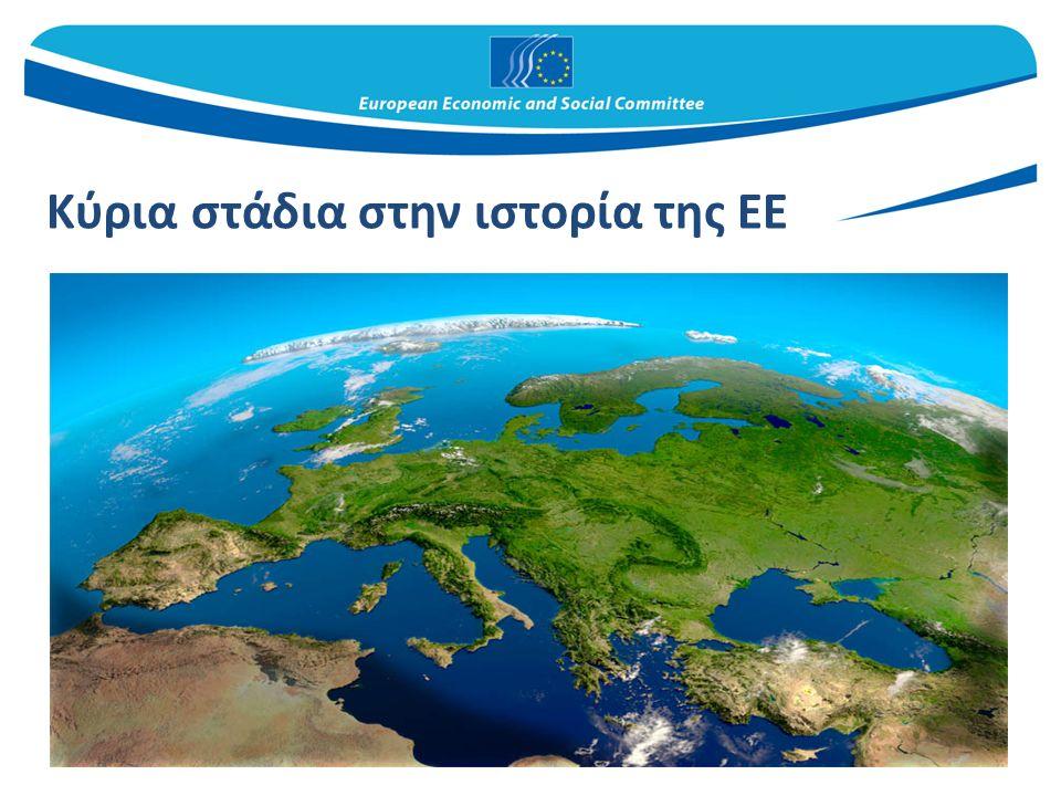 Δεκαετία του '50 – οι απαρχές της μεταπολεμικής ανοικοδόμησης 1950: διακήρυξη Σουμάν στις 9 Μαΐου 1951 : ίδρυση της Ευρωπαϊκής Κοινότητας Άνθρακα και Χάλυβα (ΕΚΑΧ) 6 κράτη μέλη: Βέλγιο, Γαλλία, Γερμανία, Ιταλία, Κάτω Χώρες και Λουξεμβούργο 1957: συνθήκες της Ρώμης – γέννηση της Ευρωπαϊκής Οικονομικής Κοινότητας (ΕΟΚ) και της Ευρατόμ