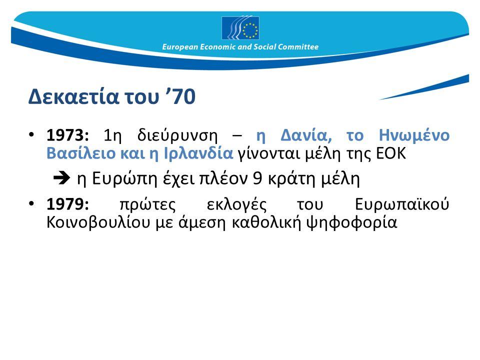 Δεκαετία του '80 - εδραίωση Διεύρυνση προς χώρες της Νότιας Ευρώπης: Ελλάδα (1981), Ισπανία και Πορτογαλία (1986)  Η Ευρώπη έχει πλέον 12 κράτη μέλη 1986: υπογράφεται η Ενιαία Ευρωπαϊκή Πράξη που τροποποιεί τη συνθήκη της Ρώμης 1990: μετά την επανένωση της Γερμανίας, η πρώην Ανατολική Γερμανία εντάσσεται στην ΕΟΚ