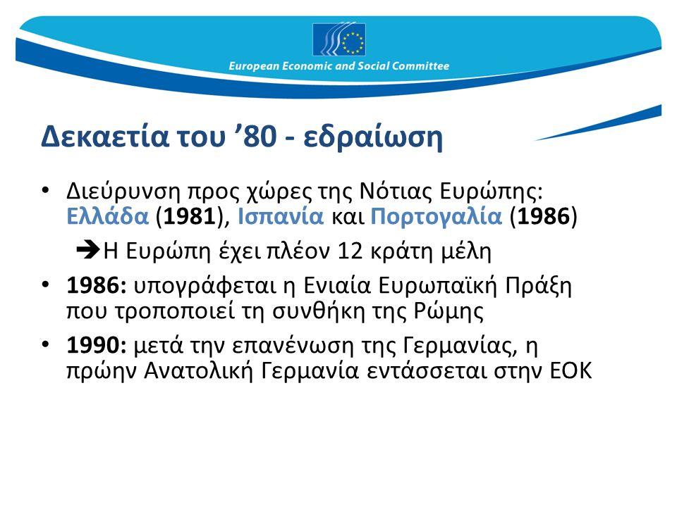 Δεκαετία του '90 1993: τίθεται σε ισχύ η ενιαία ευρωπαϊκή αγορά (συνθήκη του Μάαστριχτ) 1995: νέα διεύρυνση – Αυστρία, Σουηδία και Φινλανδία  Η Ευρώπη έχει πλέον 15 κράτη μέλη