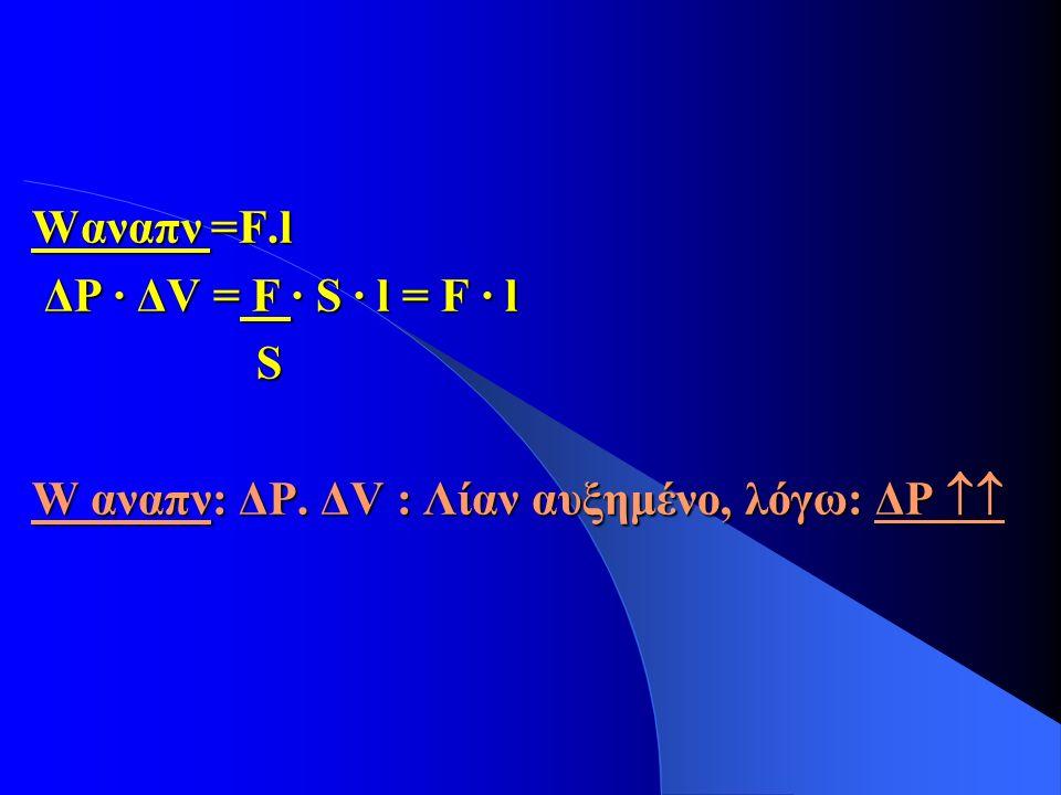 Wαναπν =F.l ΔΡ · ΔV = F · S · l = F · l ΔΡ · ΔV = F · S · l = F · l S W αναπν: ΔP. ΔV : Λίαν αυξημένο, λόγω: ΔΡ 