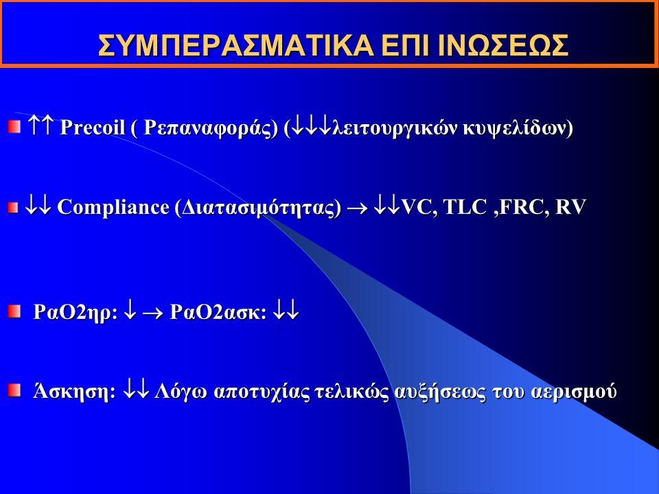 ΣΥΜΠΕΡΑΣΜΑΤΙΚΑ ΕΠΙ ΙΝΩΣΕΩΣ  Precoil ( Pεπαναφοράς) (  λειτουργικών κυψελίδων)  Compliance (Διατασιμότητας)   VC, TLC,FRC, RV  Compliance (Διατασιμότητας)   VC, TLC,FRC, RV PαO2ηρ:   PαO2ασκ:  PαO2ηρ:   PαO2ασκ:  Άσκηση:  Λόγω αποτυχίας τελικώς αυξήσεως του αερισμού Άσκηση:  Λόγω αποτυχίας τελικώς αυξήσεως του αερισμού