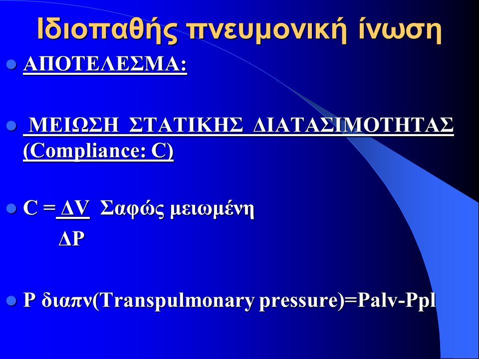 Ιδιοπαθής πνευμονική ίνωση ΑΠΟΤΕΛΕΣΜΑ: ΑΠΟΤΕΛΕΣΜΑ: ΜΕΙΩΣΗ ΣΤΑΤΙΚΗΣ ΔΙΑΤΑΣΙΜΟΤΗΤΑΣ (Compliance: C) ΜΕΙΩΣΗ ΣΤΑΤΙΚΗΣ ΔΙΑΤΑΣΙΜΟΤΗΤΑΣ (Compliance: C) C = ΔV Σαφώς μειωμένη C = ΔV Σαφώς μειωμένη ΔP ΔP P διαπν(Transpulmonary pressure)=Palv-Ppl P διαπν(Transpulmonary pressure)=Palv-Ppl