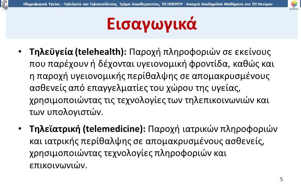 2626 Πληροφορική Υγείας – Τηλεϋγεία και Τηλεκπαίδευση, Τμήμα Λογοθεραπείας, ΤΕΙ ΗΠΕΙΡΟΥ - Ανοιχτά Ακαδημαϊκά Μαθήματα στο ΤΕΙ Ηπείρου Η Τηλεϋγεία σήμερα 26 Ελλάδα (Προγράμματα) B.Τηλεϋγεία στο Κρήτη Πληροφορικό σύστημα πρωτοβάθμιας υγειονομικής φροντίδας Πληροφοριακό σύστημα παιδοχειρουργικής Τηλεματική υποστήριξη κέντρων υγείας στην καρδιολογία Πληροφοριακό σύστημα πρόσληψης, διαχείρισης και μεταφοράς ιατρικών απεικονίσεων Αρχειοθέτηση και ανάκληση ιατρικών απεικονίσεων με βάση το οπτικό περιεχόμενό τους Περιβάλλον τηλεσυνεργασίας στην Ιατρική Ολοκληρωμένο Τηλεματικό Σύστημα Υγείας (Integrated Health Telematics Network of Crete - HYGEIAnet)