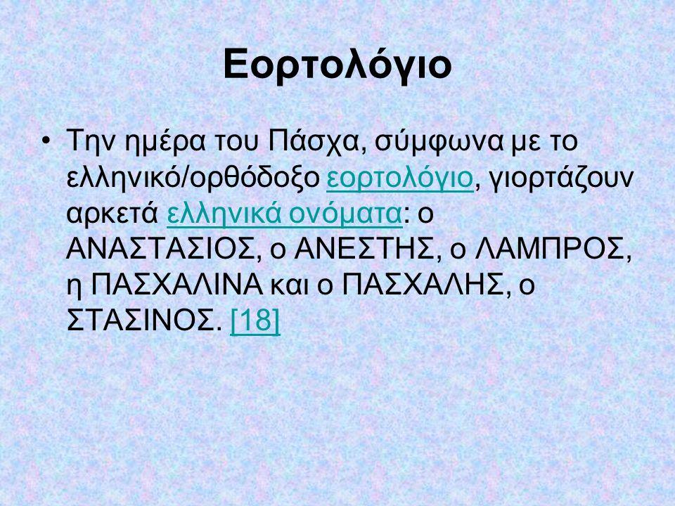 Εορτολόγιο Την ημέρα του Πάσχα, σύμφωνα με το ελληνικό/ορθόδοξο εορτολόγιο, γιορτάζουν αρκετά ελληνικά ονόματα: ο ΑΝΑΣΤΑΣΙΟΣ, ο ΑΝΕΣΤΗΣ, ο ΛΑΜΠΡΟΣ, η