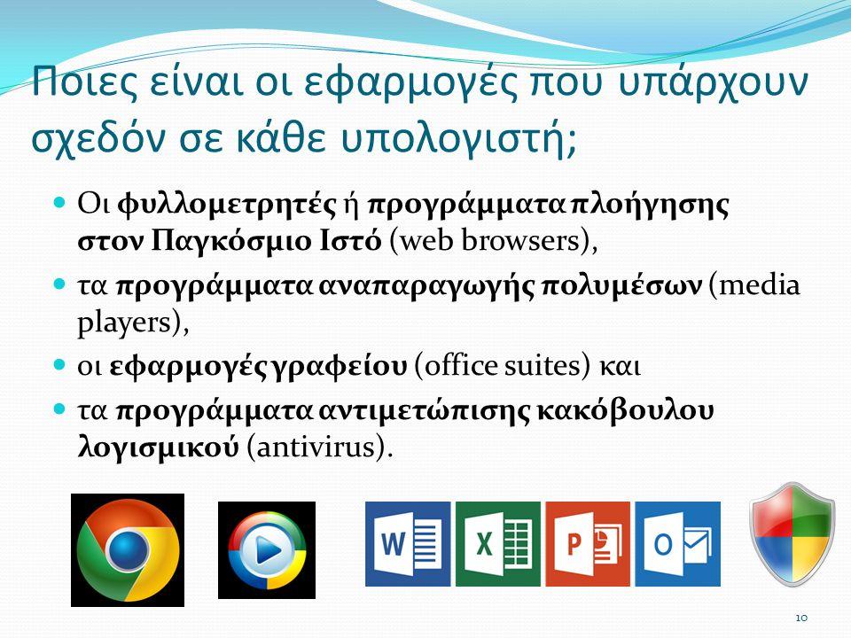 Ποιες είναι οι εφαρμογές που υπάρχουν σχεδόν σε κάθε υπολογιστή; Οι φυλλομετρητές ή προγράμματα πλοήγησης στον Παγκόσμιο Ιστό (web browsers), τα προγράμματα αναπαραγωγής πολυμέσων (media players), οι εφαρμογές γραφείου (office suites) και τα προγράμματα αντιμετώπισης κακόβουλου λογισμικού (antivirus).