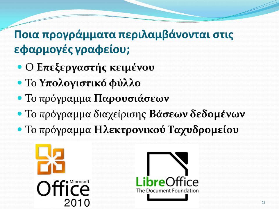 Ποια προγράμματα περιλαμβάνονται στις εφαρμογές γραφείου; Ο Επεξεργαστής κειμένου Το Υπολογιστικό φύλλο Το πρόγραμμα Παρουσιάσεων Το πρόγραμμα διαχείρισης Βάσεων δεδομένων Το πρόγραμμα Ηλεκτρονικού Ταχυδρομείου 11
