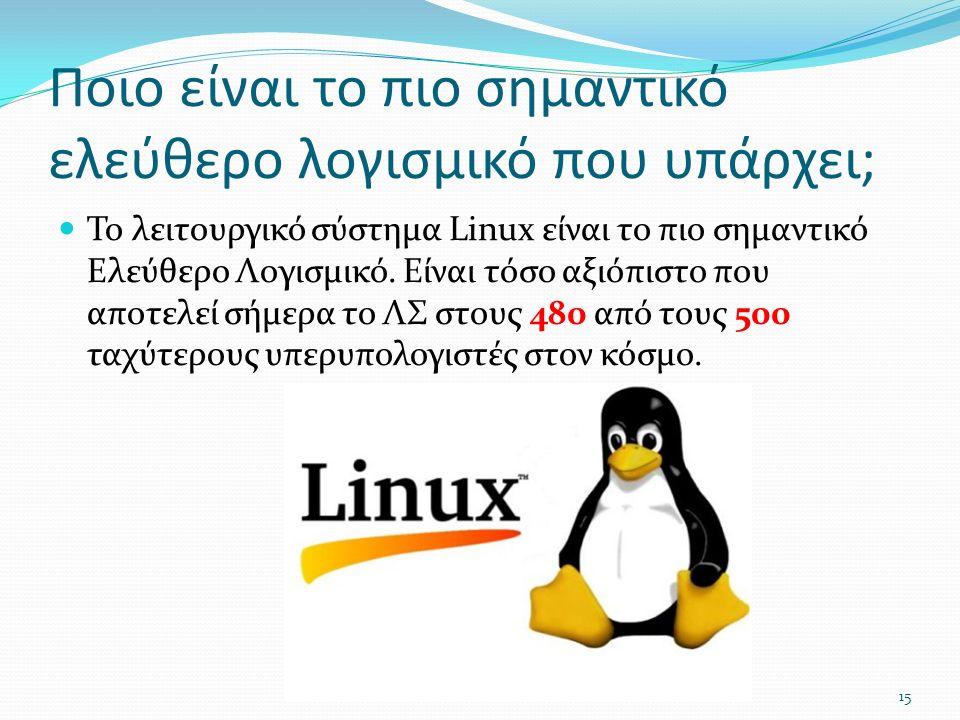 Ποιο είναι το πιο σημαντικό ελεύθερο λογισμικό που υπάρχει; Το λειτουργικό σύστημα Linux είναι το πιο σημαντικό Ελεύθερο Λογισμικό.