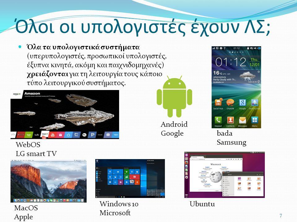 Όλοι οι υπολογιστές έχουν ΛΣ; Όλα τα υπολογιστικά συστήματα (υπερυπολογιστές, προσωπικοί υπολογιστές, έξυπνα κινητά, ακόμη και παιχνιδομηχανές) χρειάζονται για τη λειτουργία τους κάποιο τύπο λειτουργικού συστήματος.