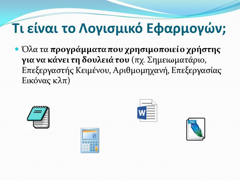 Τι είναι το Λογισμικό Εφαρμογών; Όλα τα προγράμματα που χρησιμοποιεί ο χρήστης για να κάνει τη δουλειά του (πχ.