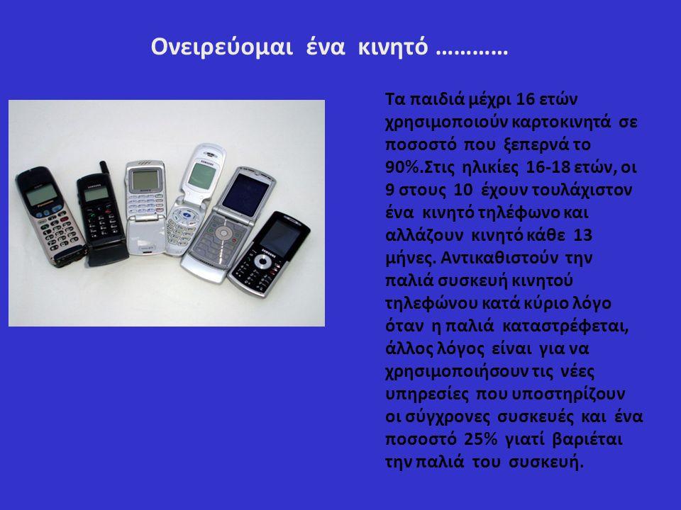 Ονειρεύομαι ένα κινητό ………… Τα παιδιά μέχρι 16 ετών χρησιμοποιούν καρτοκινητά σε ποσοστό που ξεπερνά το 90%.Στις ηλικίες 16-18 ετών, οι 9 στους 10 έχουν τουλάχιστον ένα κινητό τηλέφωνο και αλλάζουν κινητό κάθε 13 μήνες.