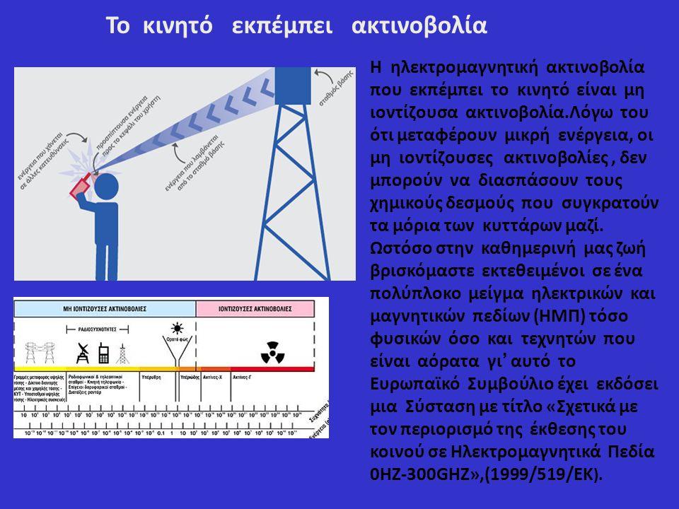 Το κινητό εκπέμπει ακτινοβολία Η ηλεκτρομαγνητική ακτινοβολία που εκπέμπει το κινητό είναι μη ιοντίζουσα ακτινοβολία.Λόγω του ότι μεταφέρουν μικρή ενέργεια, οι μη ιοντίζουσες ακτινοβολίες, δεν μπορούν να διασπάσουν τους χημικούς δεσμούς που συγκρατούν τα μόρια των κυττάρων μαζί.