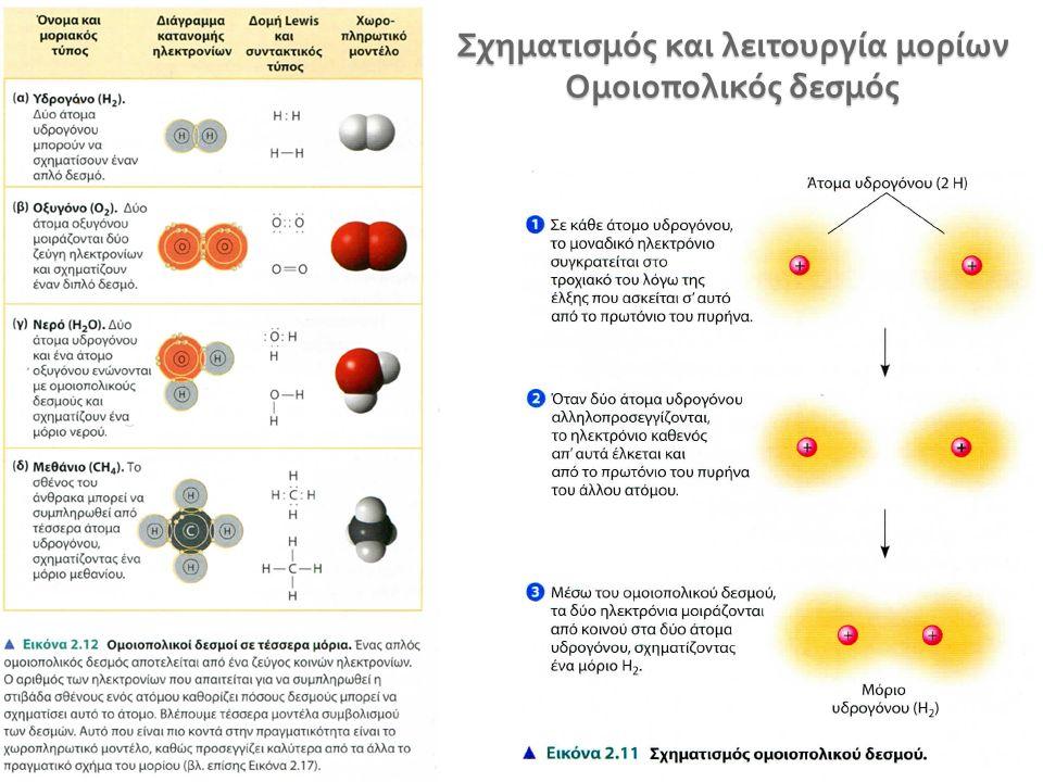 Σχηματισμός και λειτουργία μορίων Ομοιοπολικός δεσμός