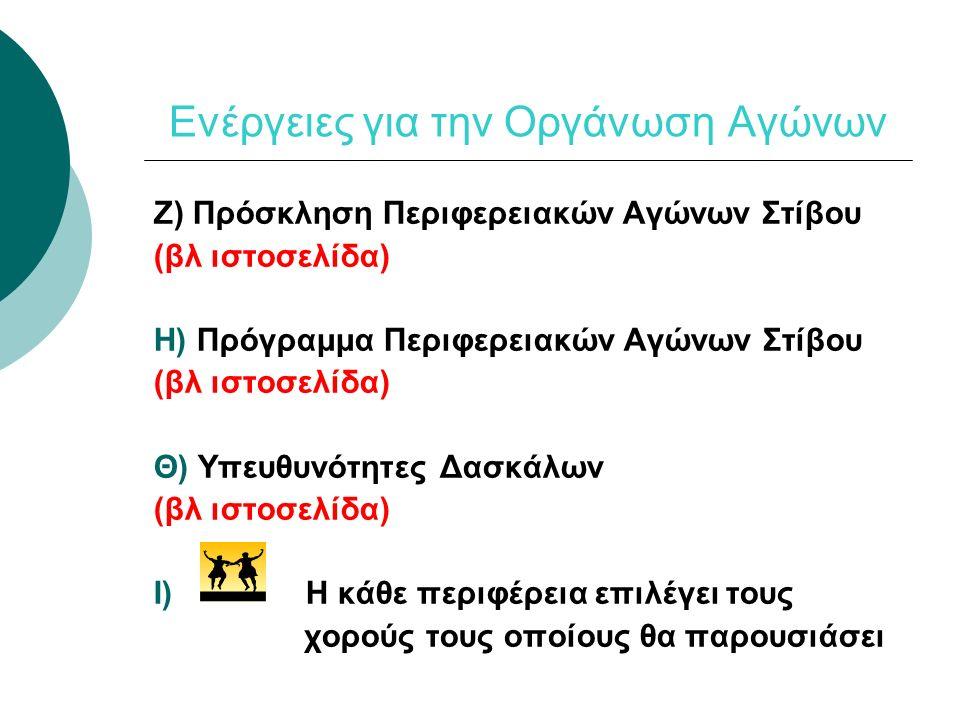 Ενέργειες για την Οργάνωση Αγώνων Ζ) Πρόσκληση Περιφερειακών Αγώνων Στίβου (βλ ιστοσελίδα) Η) Πρόγραμμα Περιφερειακών Αγώνων Στίβου (βλ ιστοσελίδα) Θ)