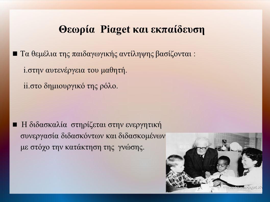 Θεωρία Piαget και εκπαίδευση Τα θεμέλια της παιδαγωγικής αντίληψης βασίζονται : i.στην αυτενέργεια του μαθητή.