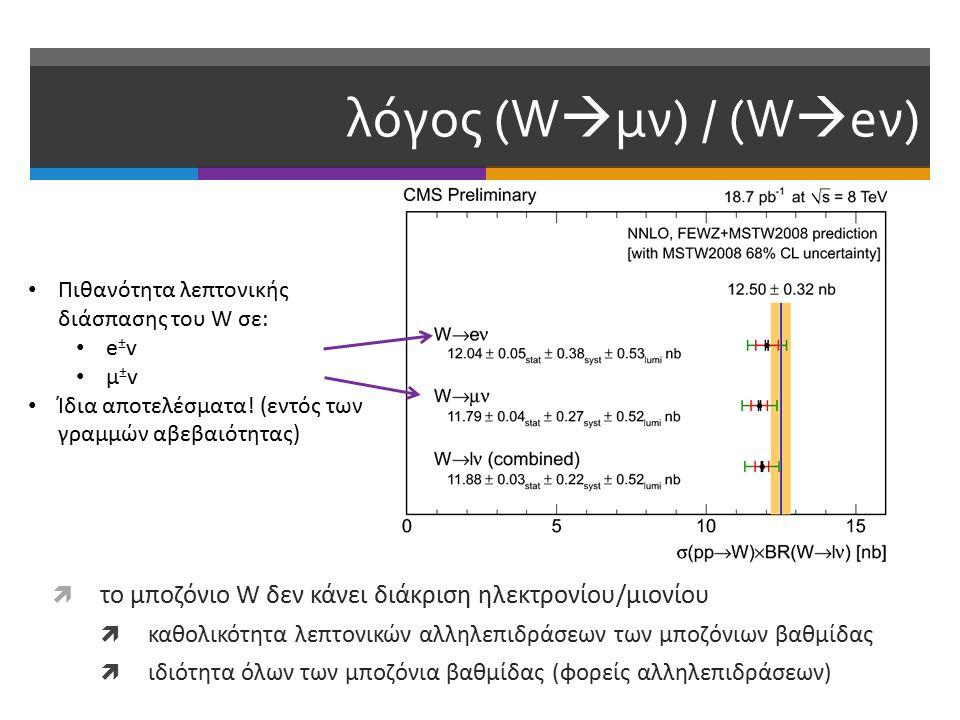 λόγος (W  μν) / (W  eν)  το μποζόνιο W δεν κάνει διάκριση ηλεκτρονίου/μιονίου  καθολικότητα λεπτονικών αλληλεπιδράσεων των μποζόνιων βαθμίδας  ιδιότητα όλων των μποζόνια βαθμίδας (φορείς αλληλεπιδράσεων) Πιθανότητα λεπτονικής διάσπασης του W σε: e ± v μ ± v Ίδια αποτελέσματα.