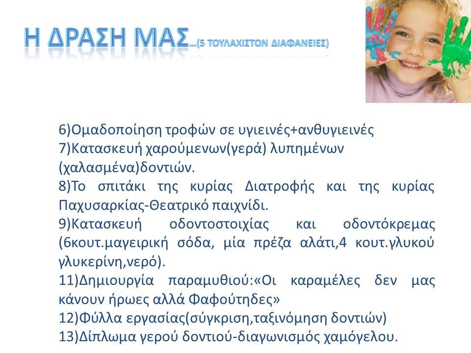 6)Ομαδοποίηση τροφών σε υγιεινές+ανθυγιεινές 7)Κατασκευή χαρούμενων(γερά) λυπημένων (χαλασμένα)δοντιών.