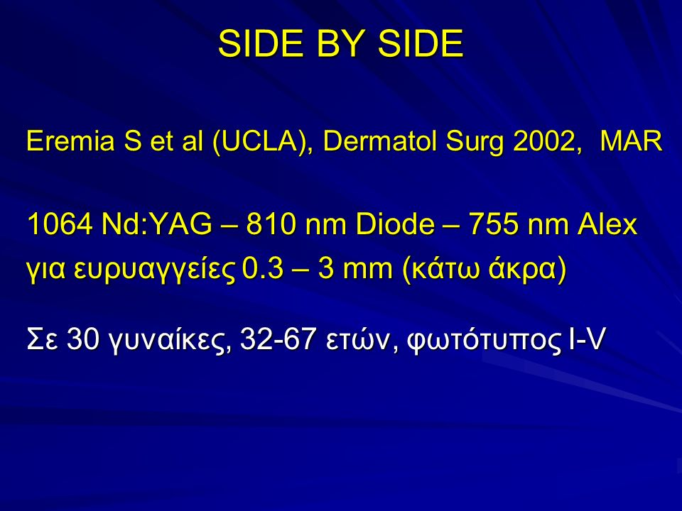 SIDE BY SIDE Eremia S et al, Dermatol Surg 2002 : ΑΠΟΤΕΛΕΣΜΑΤΑ Σε 22 ασθενείς (8 εγκατέλειψαν λόγω άλγους) : 36 sites Nd:YAG, 26 sites Diode 810, 12 sites Alex 755  75% Βελτίωση : 88% Nd:YAG - 29% Diode – 33% Alex  50% Βελτίωση : 94% Nd:YAG – 33% Diode – 58% Alex  25% Βελτίωση : 6% Nd:YAG – 39% Diode – 33% Alex
