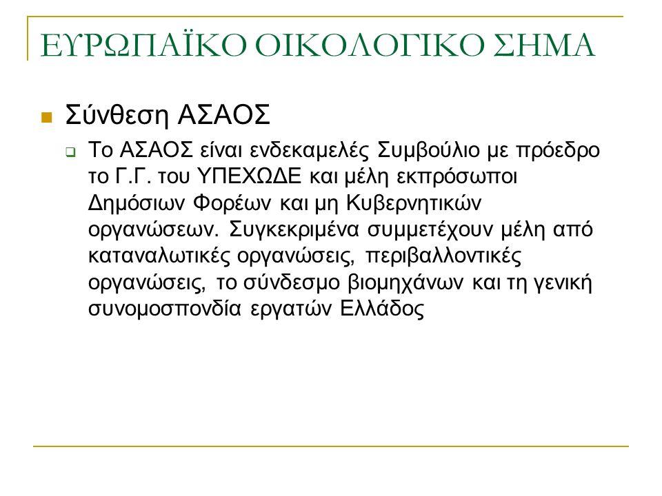 ΕΥΡΩΠΑΪΚΟ ΟΙΚΟΛΟΓΙΚΟ ΣΗΜΑ Σύνθεση ΑΣΑΟΣ  Το ΑΣΑΟΣ είναι ενδεκαμελές Συμβούλιο με πρόεδρο το Γ.Γ.