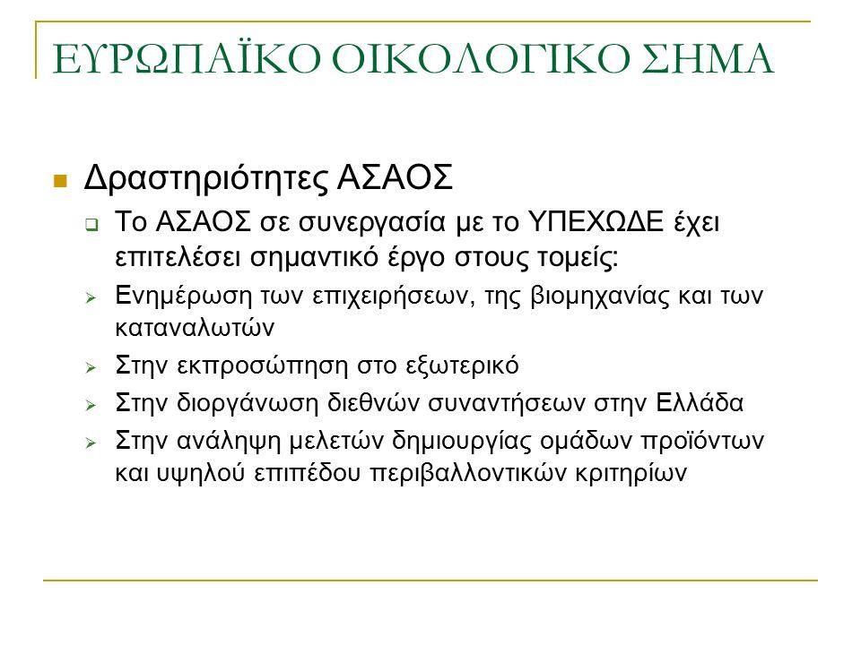 ΕΥΡΩΠΑΪΚΟ ΟΙΚΟΛΟΓΙΚΟ ΣΗΜΑ Δραστηριότητες ΑΣΑΟΣ  Το ΑΣΑΟΣ σε συνεργασία με το ΥΠΕΧΩΔΕ έχει επιτελέσει σημαντικό έργο στους τομείς:  Ενημέρωση των επιχειρήσεων, της βιομηχανίας και των καταναλωτών  Στην εκπροσώπηση στο εξωτερικό  Στην διοργάνωση διεθνών συναντήσεων στην Ελλάδα  Στην ανάληψη μελετών δημιουργίας ομάδων προϊόντων και υψηλού επιπέδου περιβαλλοντικών κριτηρίων