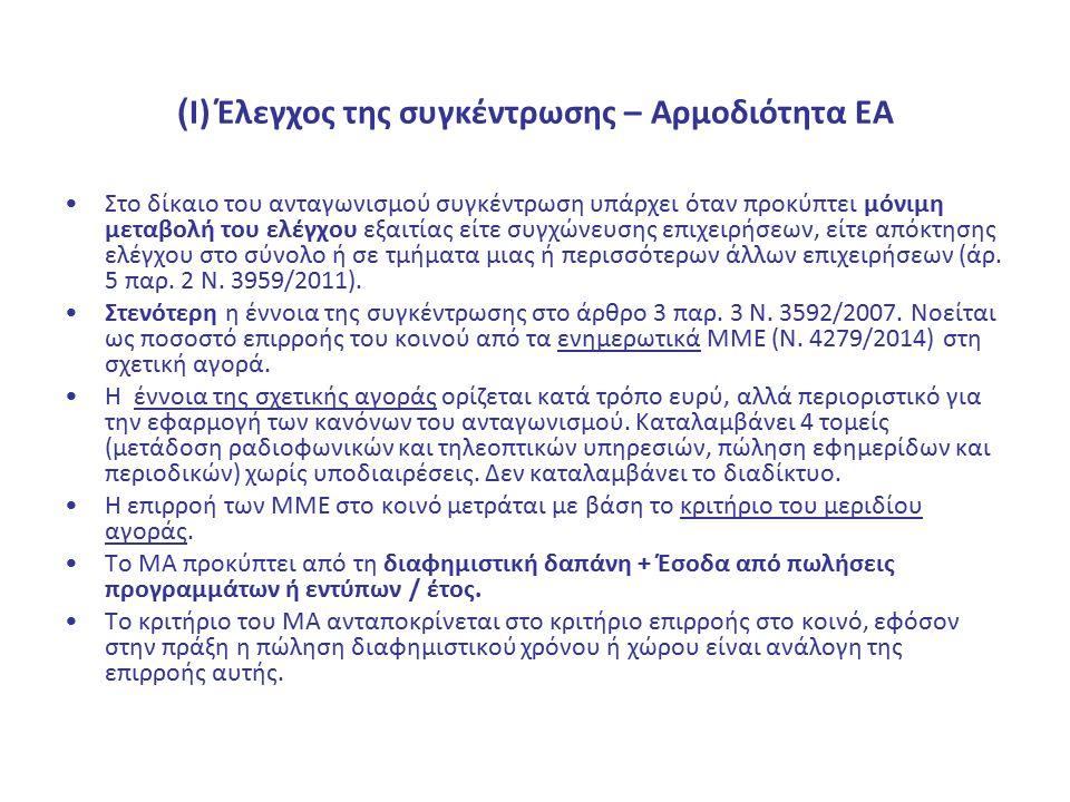 ( Ι) Έλεγχος της συγκέντρωσης – Αρμοδιότητα ΕΑ Στο δίκαιο του ανταγωνισμού συγκέντρωση υπάρχει όταν προκύπτει μόνιμη μεταβολή του ελέγχου εξαιτίας είτ