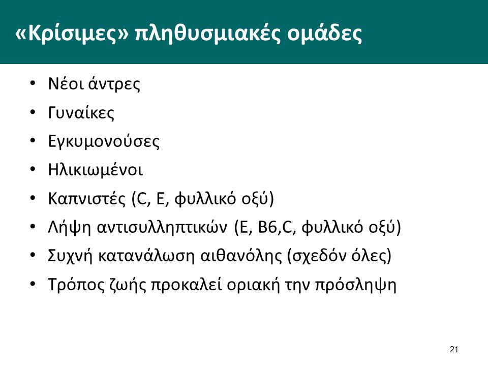 21 «Κρίσιμες» πληθυσμιακές ομάδες Νέοι άντρες Γυναίκες Εγκυμονούσες Ηλικιωμένοι Καπνιστές (C, E, φυλλικό οξύ) Λήψη αντισυλληπτικών (Ε, Β6,C, φυλλικό οξύ) Συχνή κατανάλωση αιθανόλης (σχεδόν όλες) Τρόπος ζωής προκαλεί οριακή την πρόσληψη