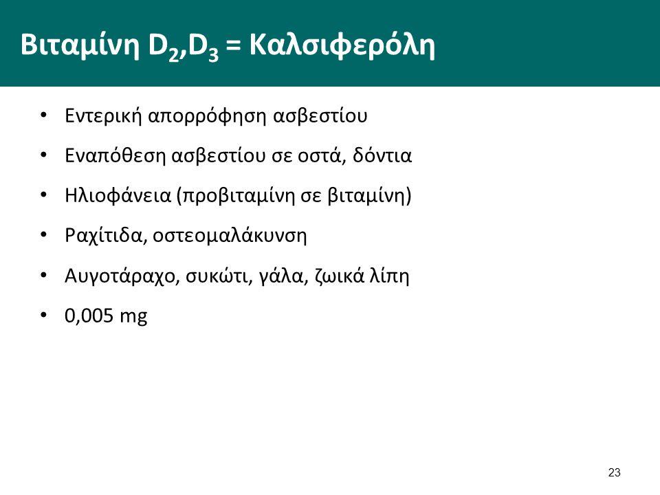 23 Βιταμίνη D 2,D 3 = Καλσιφερόλη Εντερική απορρόφηση ασβεστίου Εναπόθεση ασβεστίου σε οστά, δόντια Ηλιοφάνεια (προβιταμίνη σε βιταμίνη) Ραχίτιδα, οστεομαλάκυνση Αυγοτάραχο, συκώτι, γάλα, ζωικά λίπη 0,005 mg