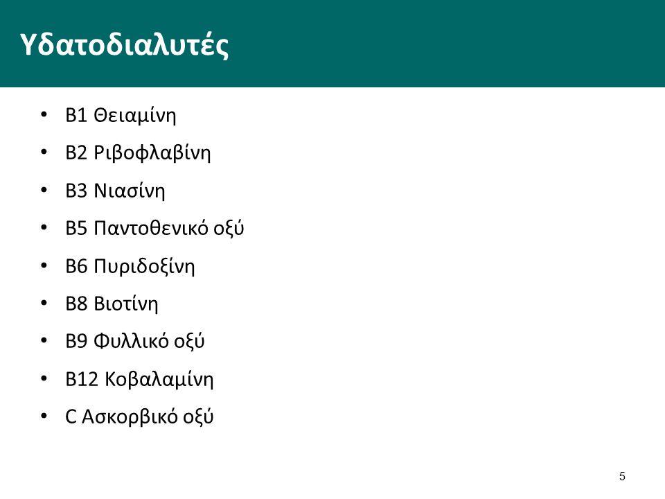 Υδατοδιαλυτές Β1 Θειαμίνη Β2 Ριβοφλαβίνη Β3 Νιασίνη Β5 Παντοθενικό οξύ Β6 Πυριδοξίνη Β8 Βιοτίνη Β9 Φυλλικό οξύ Β12 Κοβαλαμίνη C Ασκορβικό οξύ 5