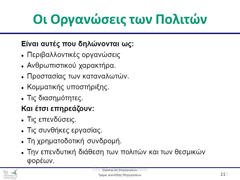 Στρατηγική Επιχειρήσεων Τμήμα Διοίκησης Επιχειρήσεων 21 Οι Οργανώσεις των Πολιτών 21 Νικόλαος Καρανάσιος - επίκουρος καθηγητής Είναι αυτές που δηλώνον
