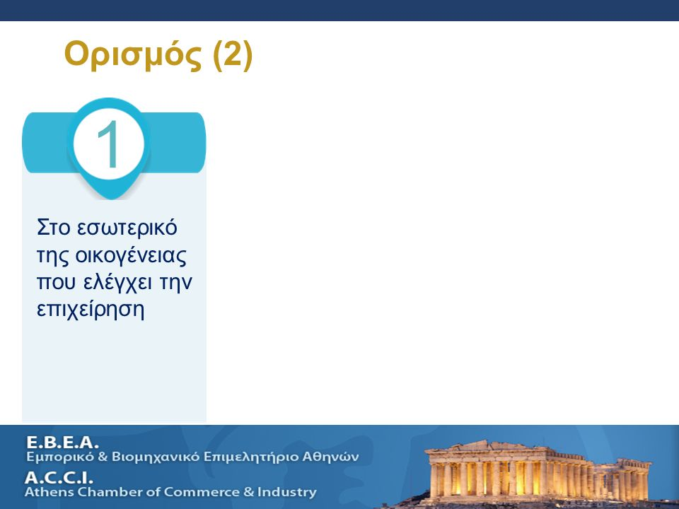 SELLING A SMALL BUSINESS AND SUCESSION PLANNING 7 Ορισμός (2) 1 Στο εσωτερικό της οικογένειας που ελέγχει την επιχείρηση