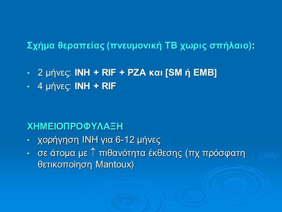 Σχήμα θεραπείας (πνευμονική ΤΒ χωρις σπήλαιο): 2 μήνες: INH + RIF + PZA και [SM ή ΕΜΒ] 2 μήνες: INH + RIF + PZA και [SM ή ΕΜΒ] 4 μήνες: INH + RIF 4 μήνες: INH + RIFΧΗΜΕΙΟΠΡΟΦΥΛΑΞΗ χορήγηση INH για 6-12 μήνες χορήγηση INH για 6-12 μήνες σε άτομα με  πιθανότητα έκθεσης (πχ πρόσφατη θετικοποίηση Mantoux) σε άτομα με  πιθανότητα έκθεσης (πχ πρόσφατη θετικοποίηση Mantoux)
