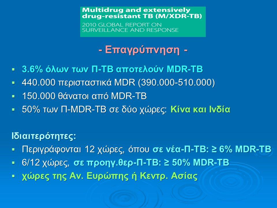 - Επαγρύπνηση -  3.6% όλων των Π-ΤΒ αποτελούν MDR-TB  440.000 περισταστικά MDR (390.000-510.000)  150.000 θάνατοι από MDR-TB  50% των Π-MDR-TB σε δύο χώρες: Κίνα και Ινδία Ιδιαιτερότητες:  Περιγράφονται 12 χώρες, όπου σε νέα-Π-ΤΒ: ≥ 6% MDR-TB  6/12 χώρες, σε προηγ.θερ-Π-ΤΒ: ≥ 50% MDR-TB  χώρες της Αν.