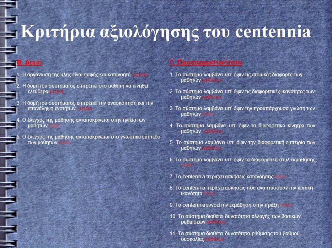 Κριτήρια αξιολόγησης του centennia Β. Δομή 1.