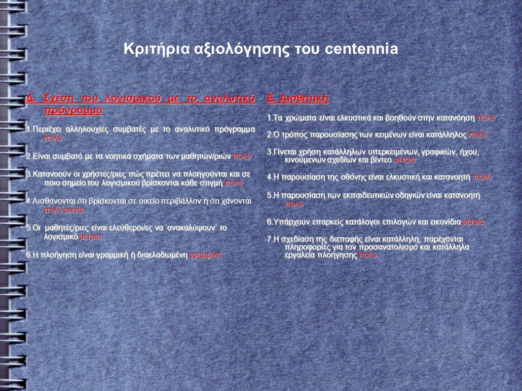 Κριτήρια αξιολόγησης του centennia Δ.